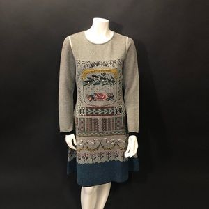 NWT Aldomartins bamboo alpaca embroidered dress M